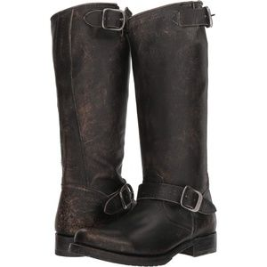 Frye Veronica Slouch Black Distressed Moto Boots